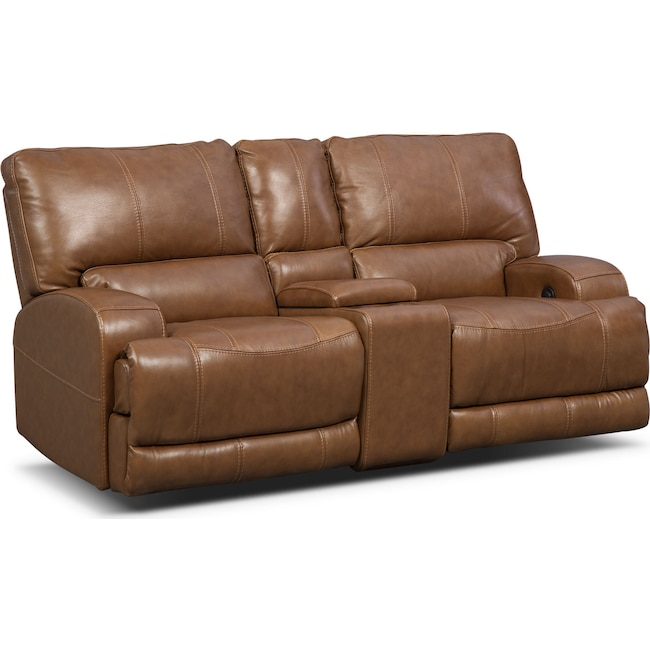 Living Room Furniture - Barton Power Reclining Loveseat with Console  - Camel