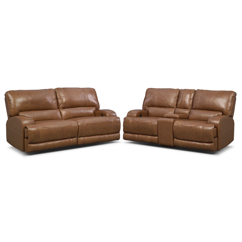 Barton Power Reclining Sofa and Reclining Loveseat Set - Camel