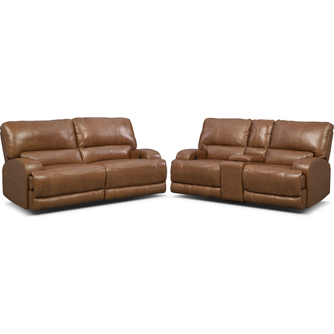 Living Room Furniture - Barton Power Reclining Sofa and Reclining Loveseat Set - Camel