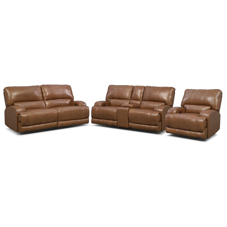 Barton Power Reclining Sofa, Reclining Loveseat and Recliner Set - Camel