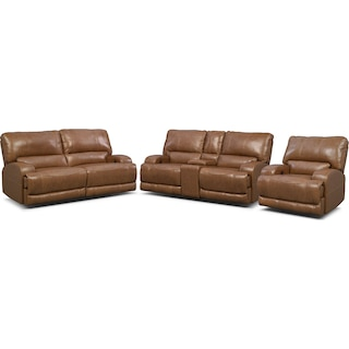 Barton Power Reclining Sofa, Reclining Loveseat and Recliner Set - Camel