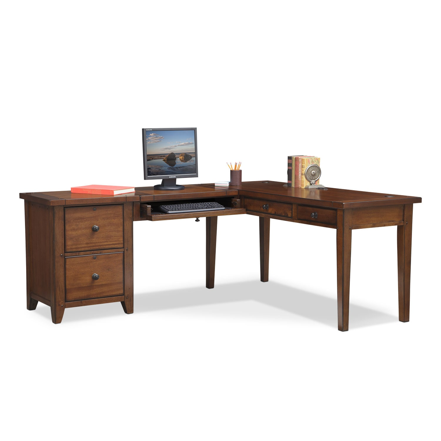 Morgan L Shaped Desk Brown American Signature Furniture
