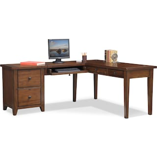 Morgan L-Shaped Desk - Brown