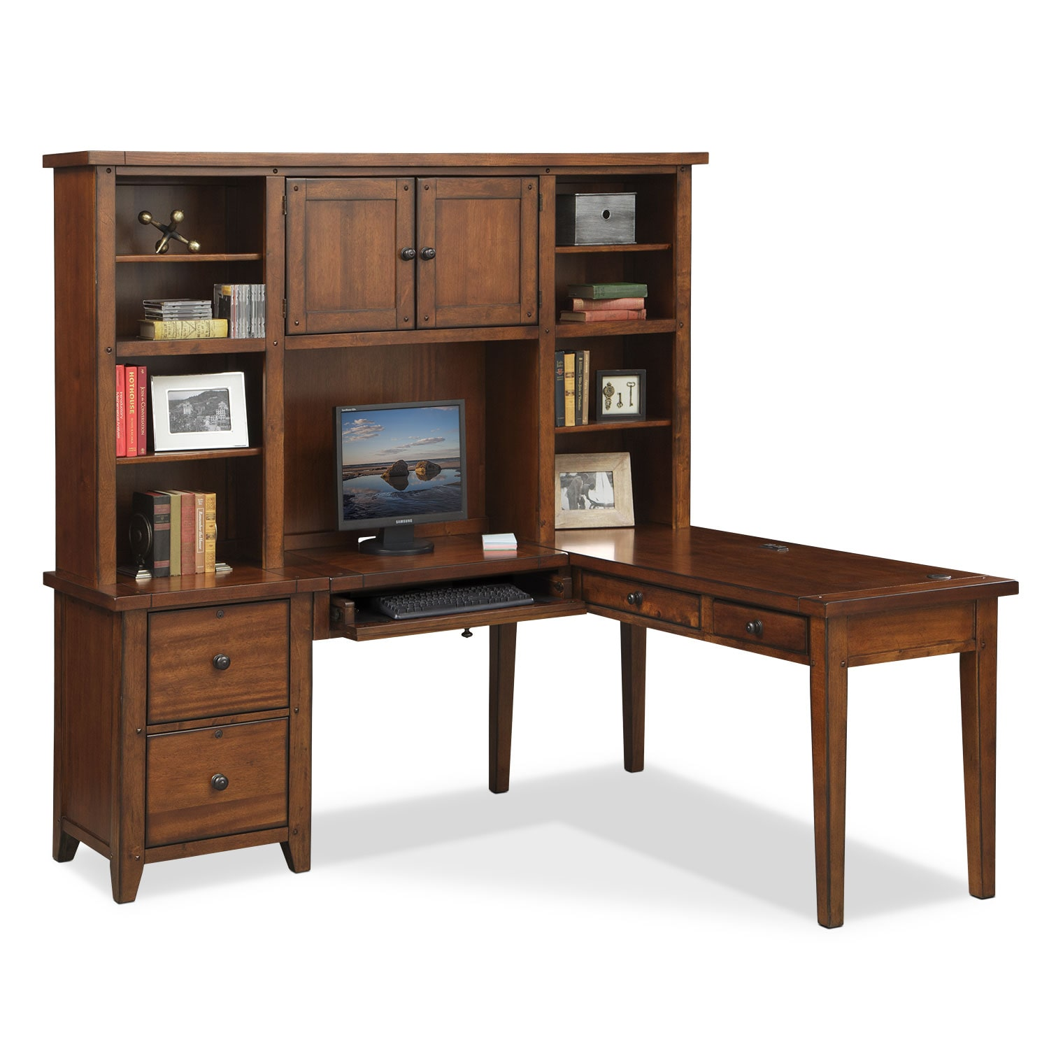 Morgan L-Shaped Desk with Hutch