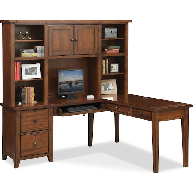 Home Office Furniture - Morgan L-Shaped Desk with Hutch - Brown
