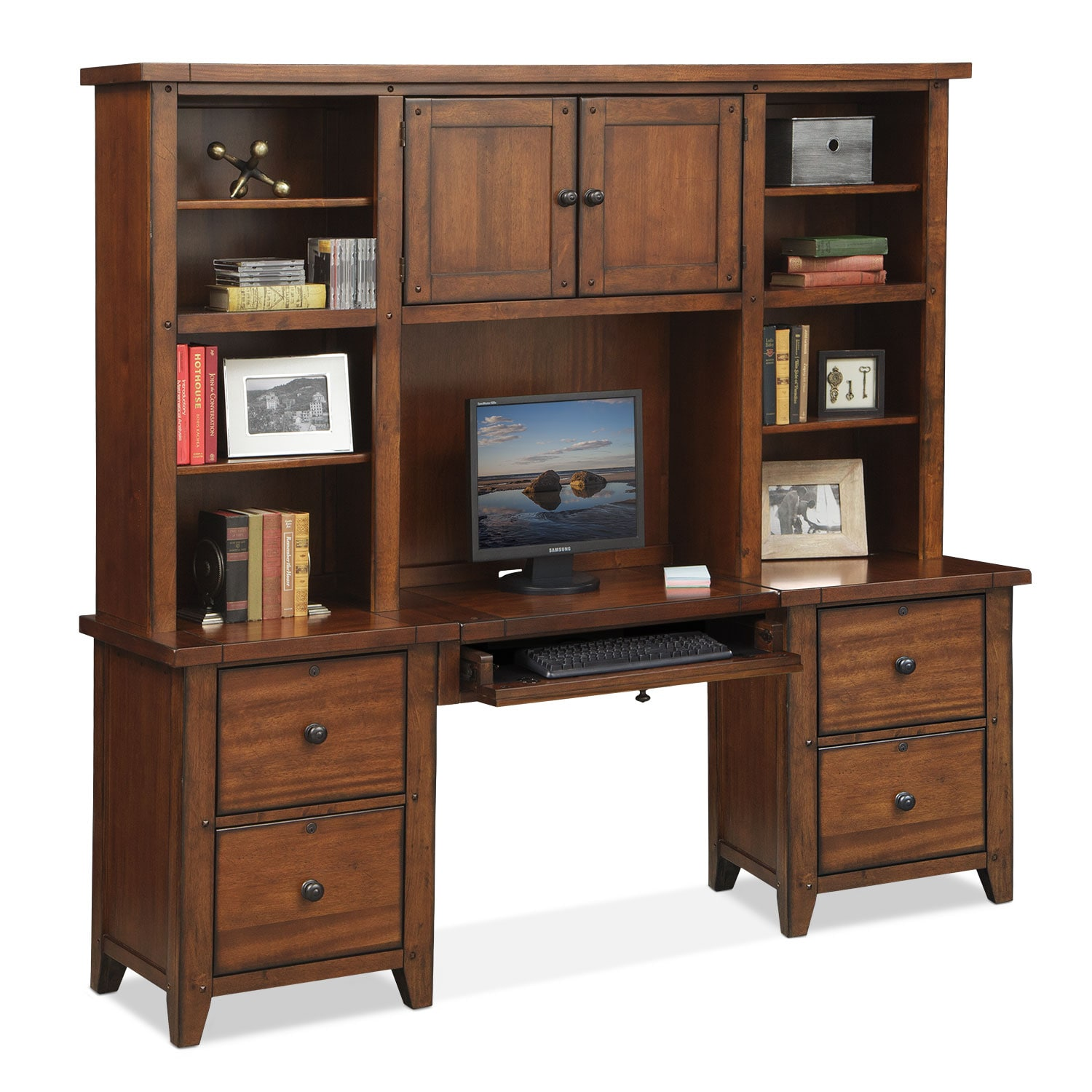 Morgan Executive Desk With Hutch Brown American Signature Furniture