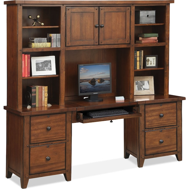 Home Office Furniture - Morgan Executive Desk with Hutch - Brown
