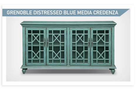 Shop the Grenoble Distressed Blue media credenza