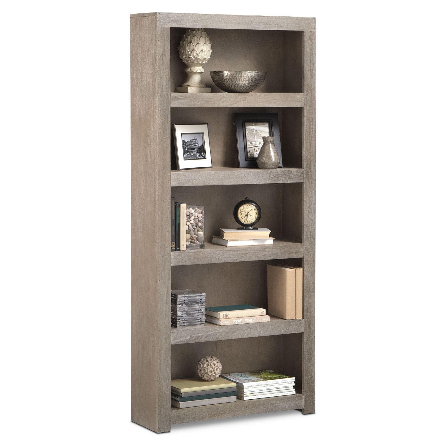 "Home Office Furniture - Bricklin 72"" Bookcase - Driftwood"