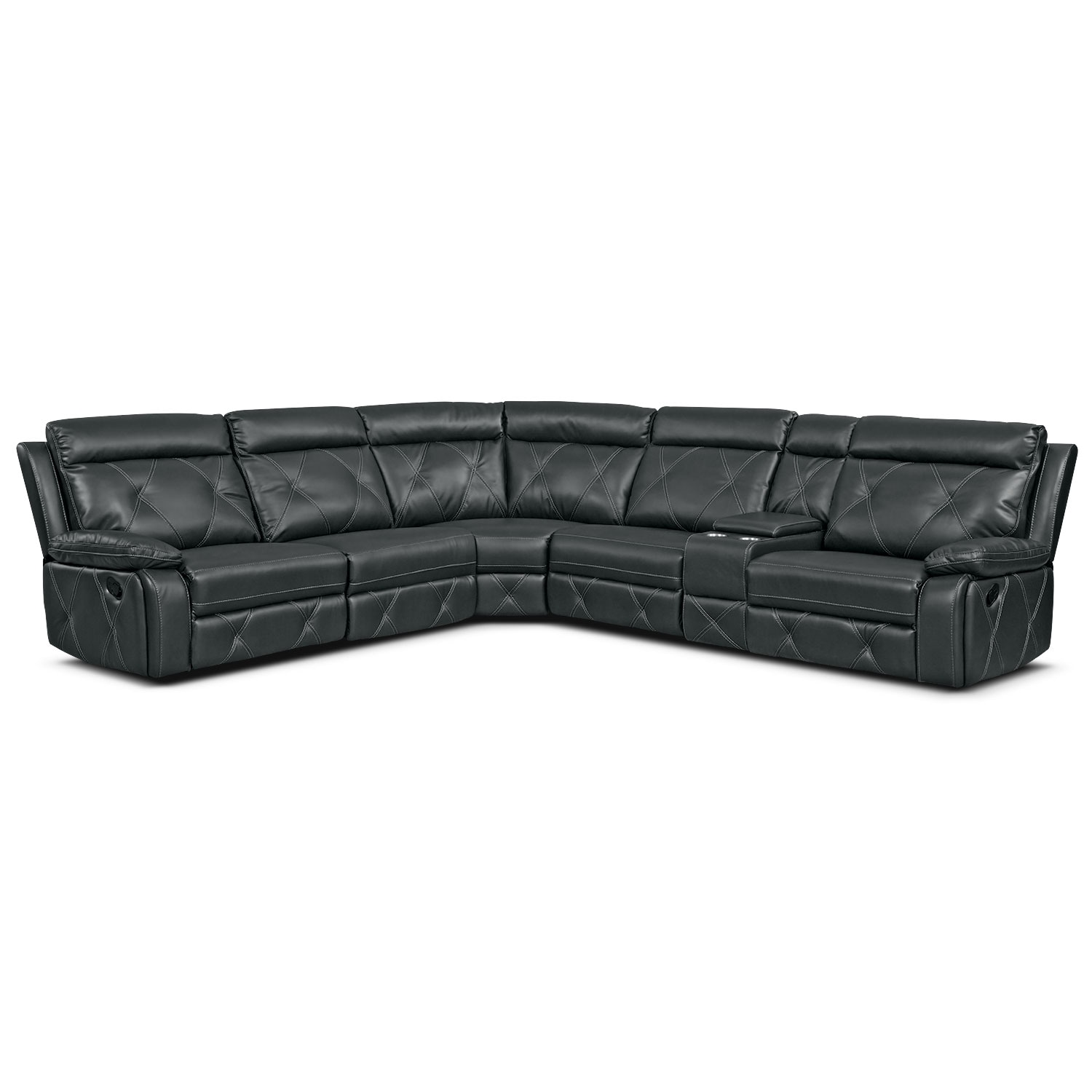 Dante 6-Piece Reclining Sectional with 3 Reclining Seats - Charcoal