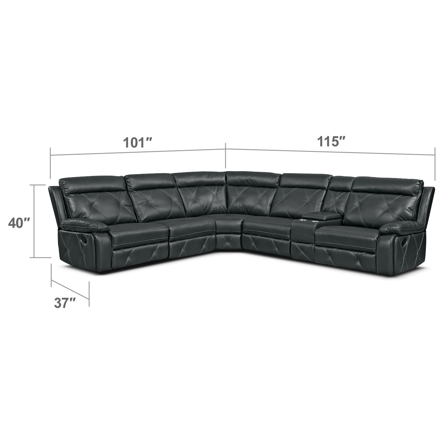 Living Room Furniture - Dante Charcoal 6 Pc. Reclining Sectional w/ 2 Reclining Seats