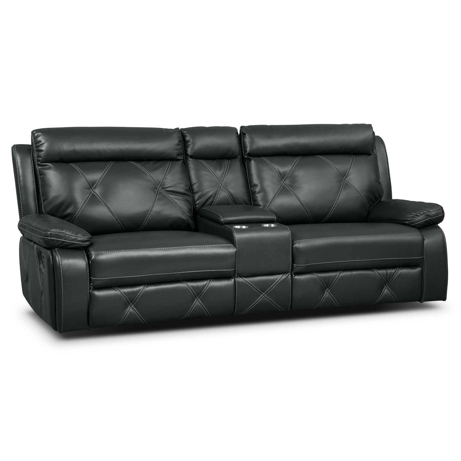 Dante Charcoal 3 Pc. Reclining Sofa with Console