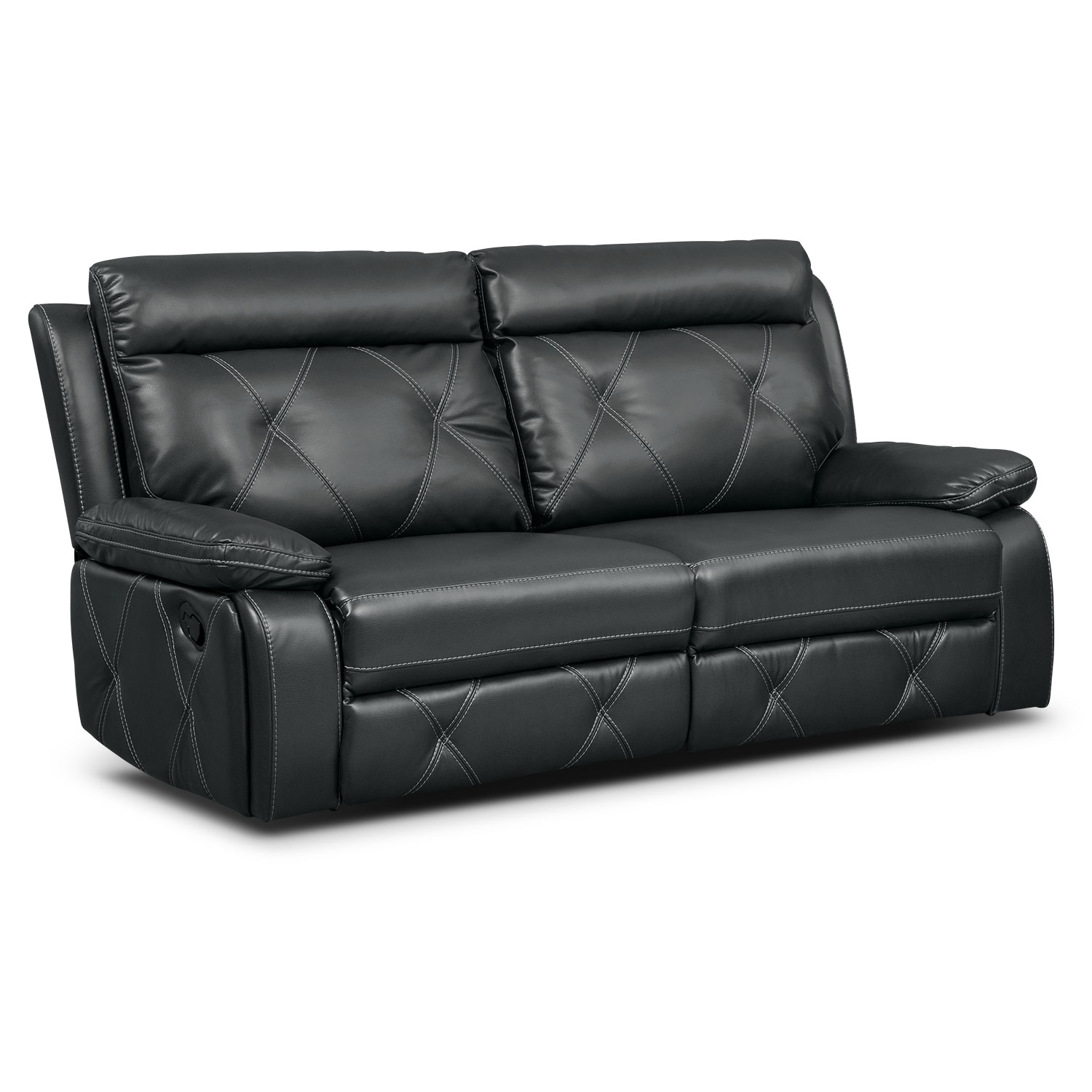 Living Room Furniture - Dante 2-Piece Reclining Sofa - Charcoal