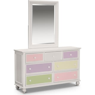 Colorworks Dresser and Mirror - White