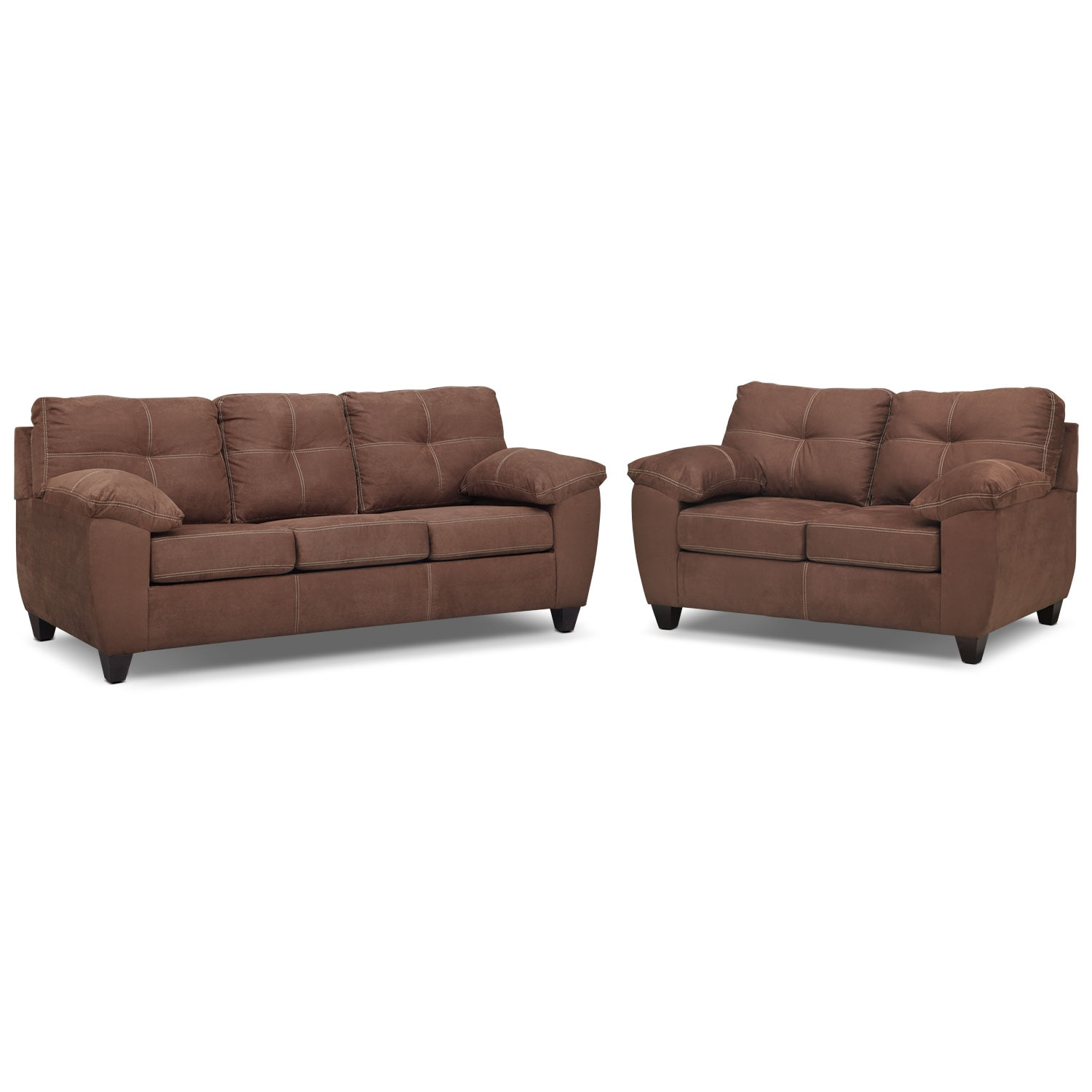 Living Room Furniture - Rialto Innerspring Sleeper Sofa and Loveseat Set - Coffee