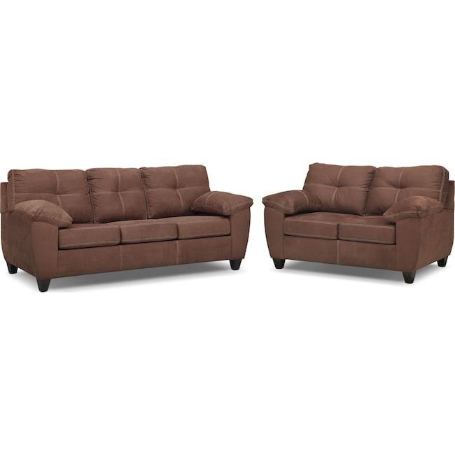 Living Room Furniture - Ricardo Queen Innerspring Sleeper Sofa and Loveseat Set