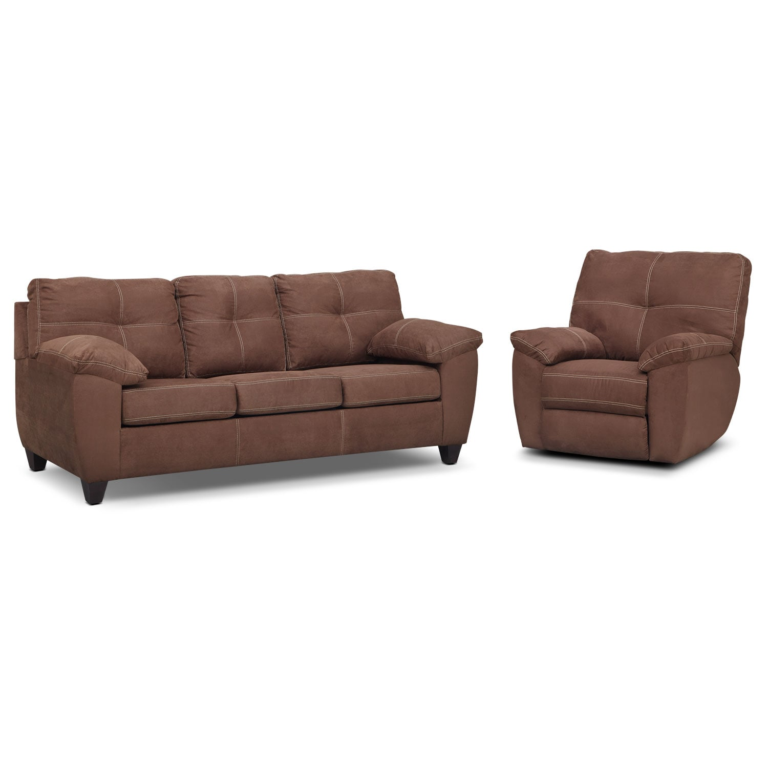 Living Room Furniture - Rialto Sofa and Glider Recliner Set - Coffee
