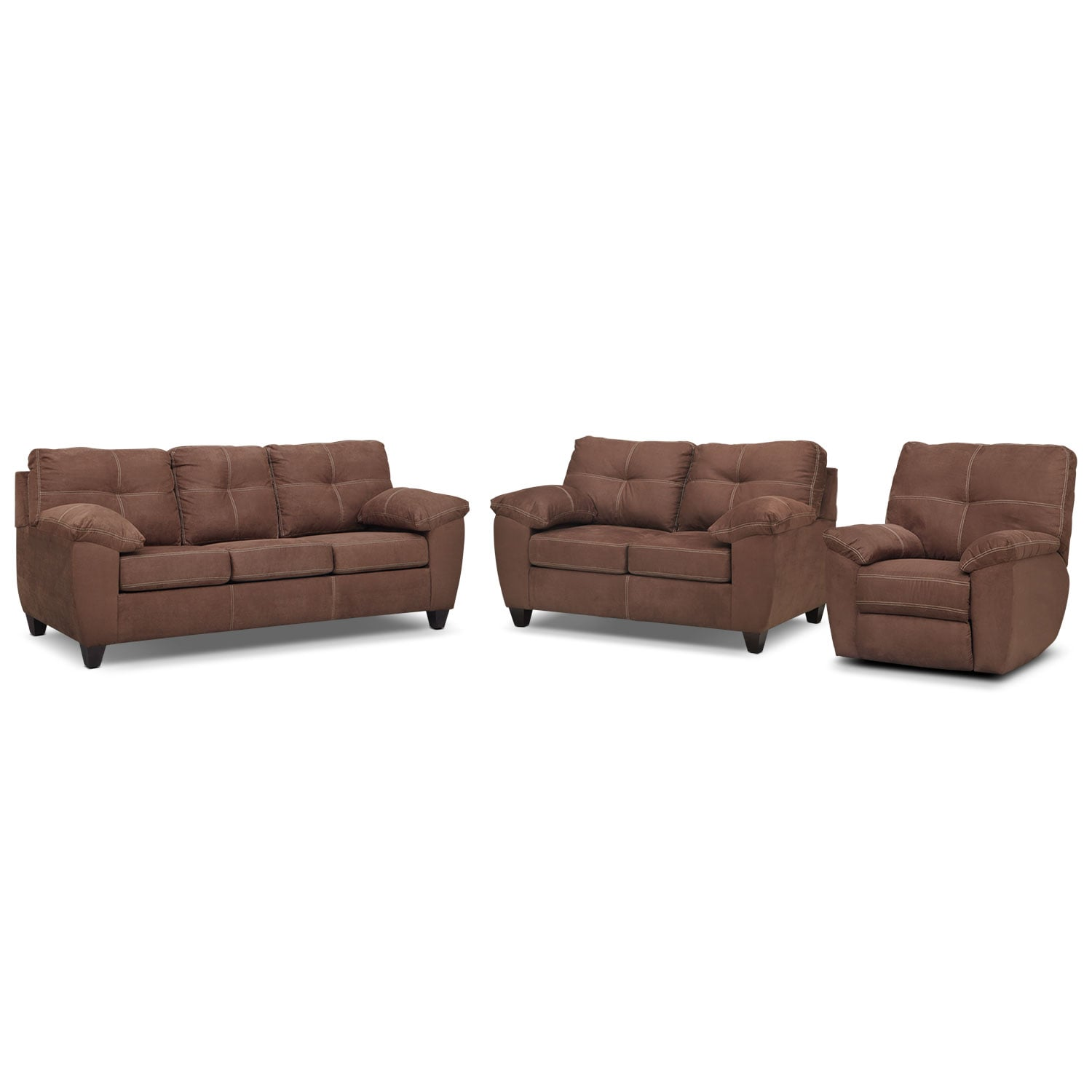 Living Room Furniture - Rialto Sofa, Loveseat and Glider Recliner Set - Coffee