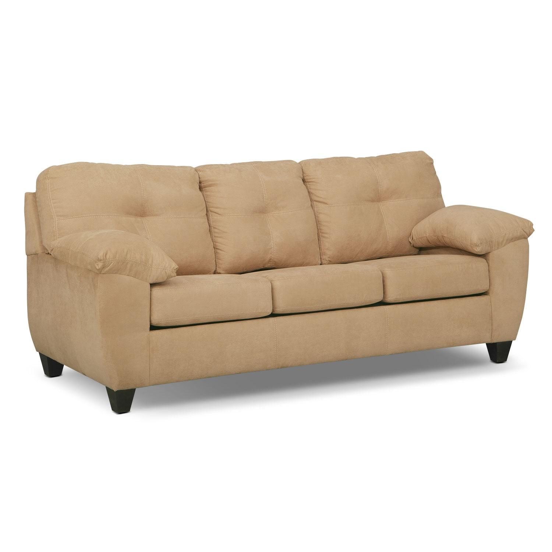 Ricardo queen memory foam sleeper sofa camel american for Sleeper sofas