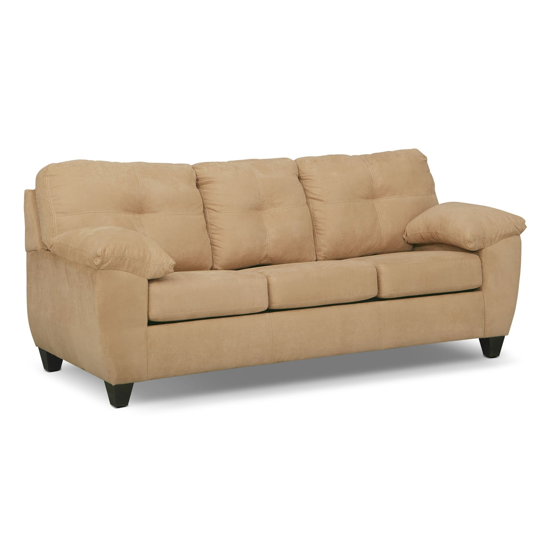 Living Room Furniture - Rialto Camel Queen Sleeper Sofa- Memory Foam