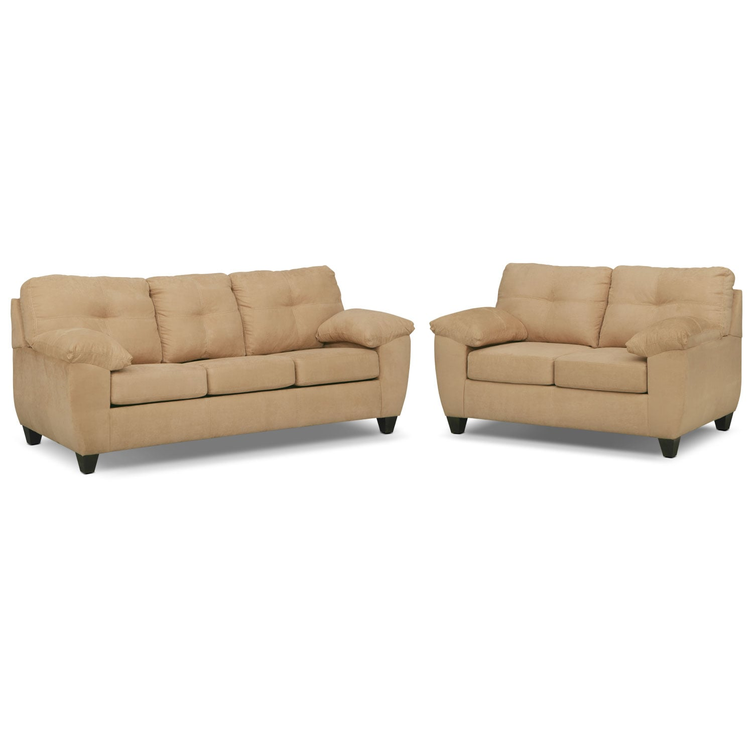 Rialto Memory Foam Sleeper Sofa and Loveseat Set - Camel