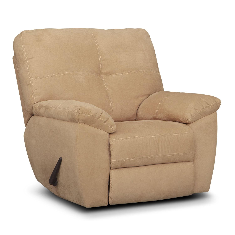 Living Room Furniture - Rialto Camel Glider Recliner