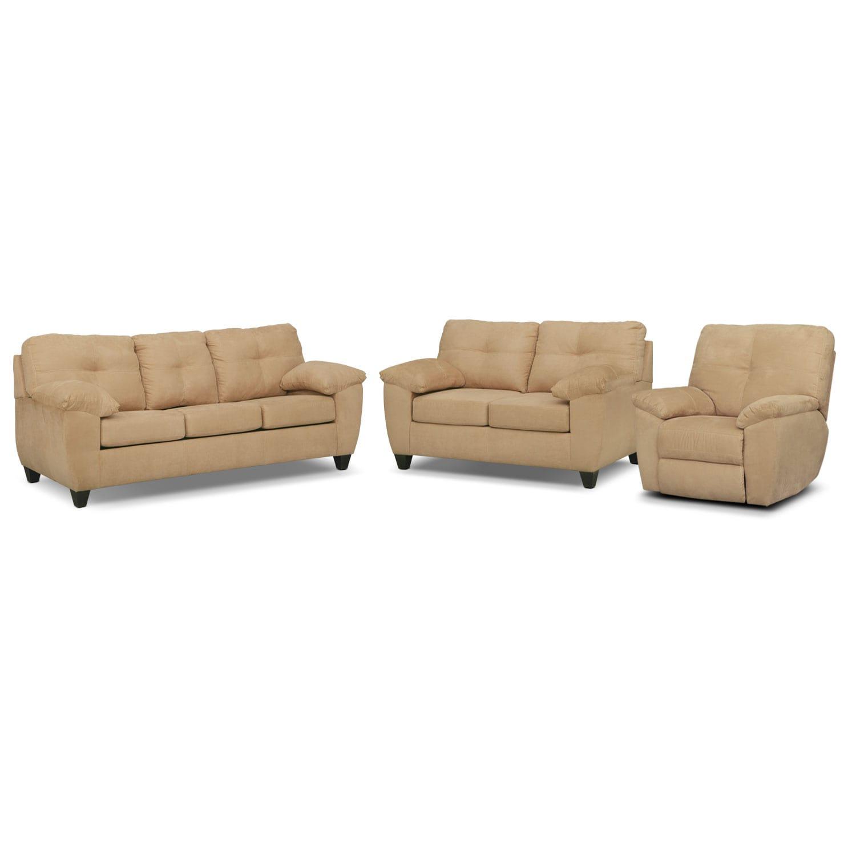Living Room Furniture - Rialto Sofa, Loveseat and Glider Recliner Set - Camel