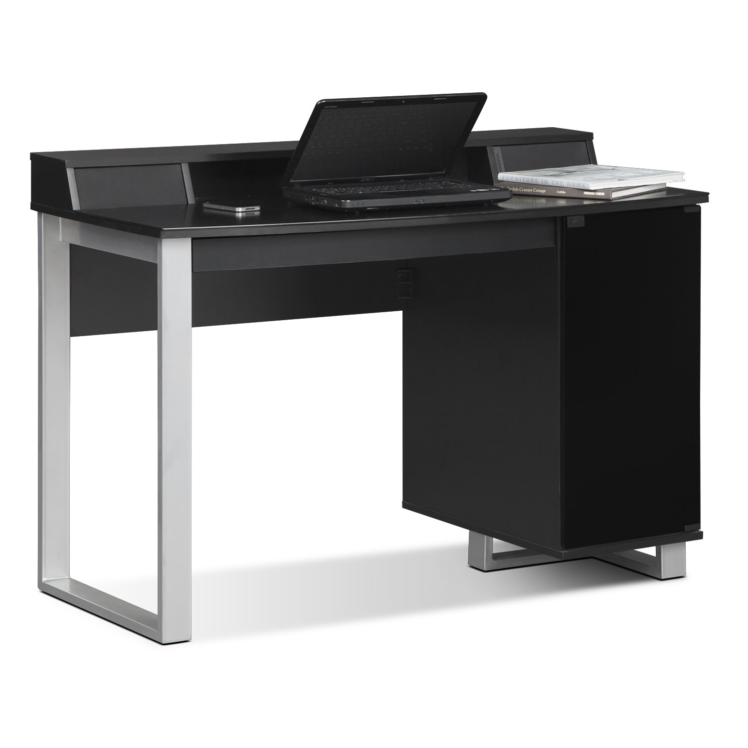 Pacer home office desk with sound black american for Home office furniture images
