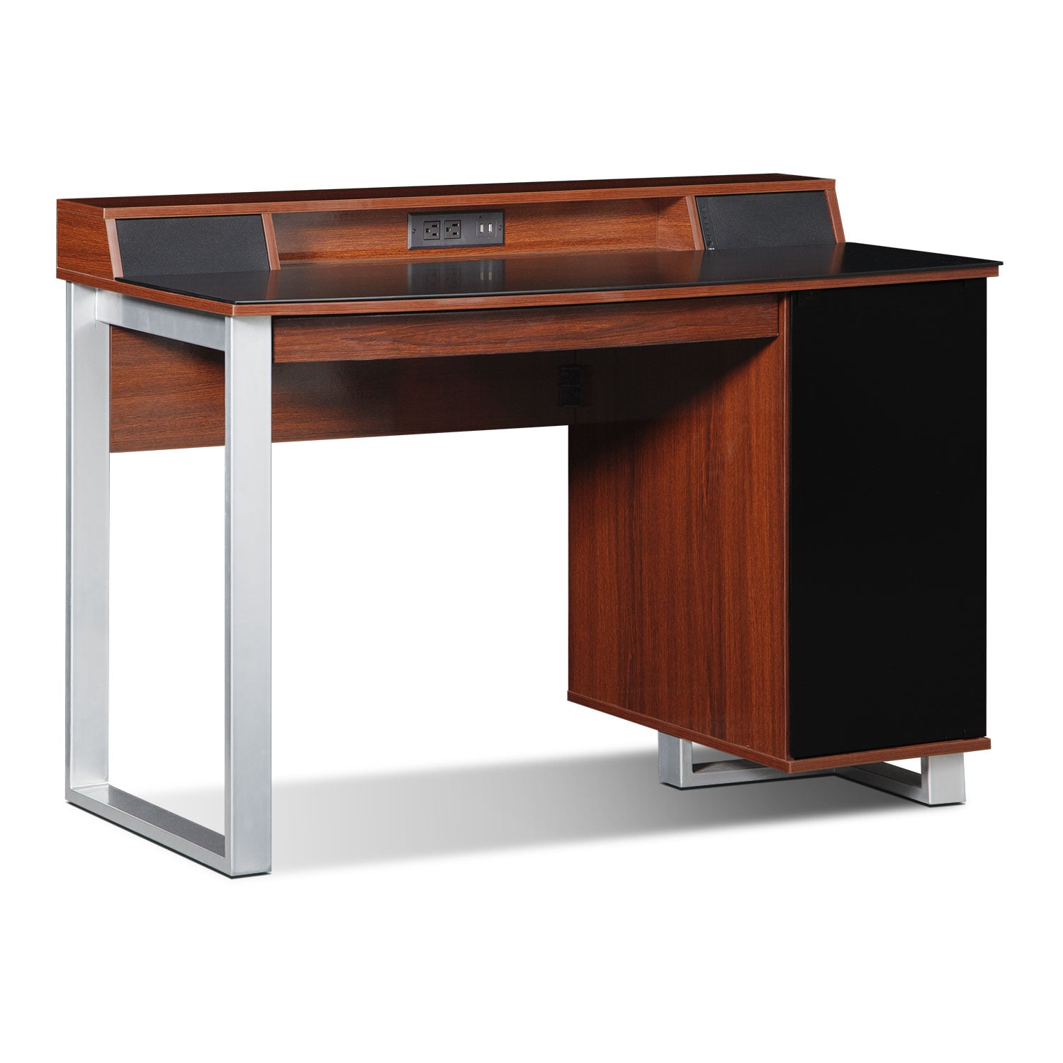 Pacer Home Office Desk With Sound Cherry American Signature Furniture