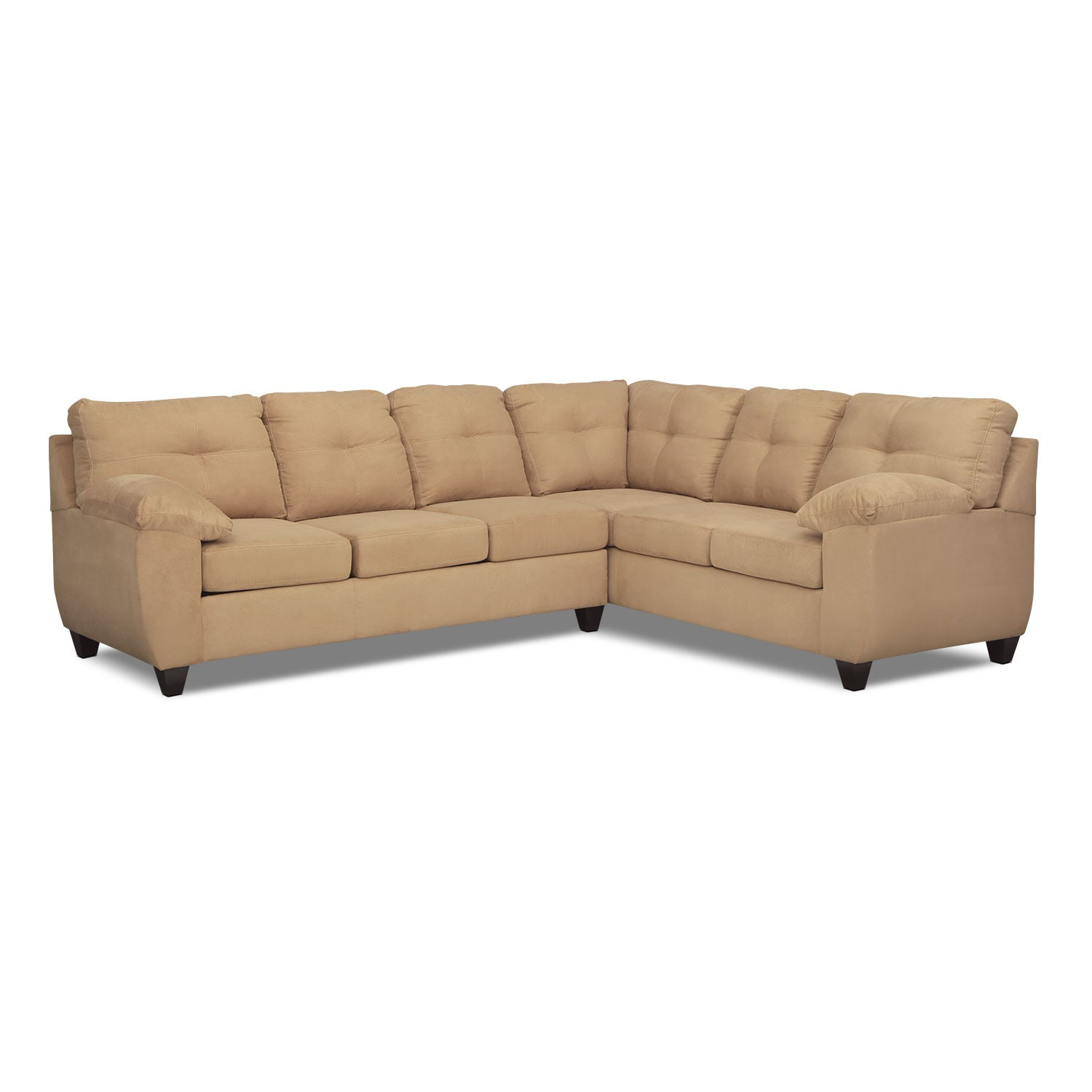 Living Room Furniture - Rialto Camel 2 Pc. Left-Facing Memory Foam Sleeper Sectional