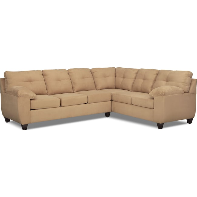 Ricardo 2 piece memory foam sleeper sectional with right for Memory foam sectional sofa bed