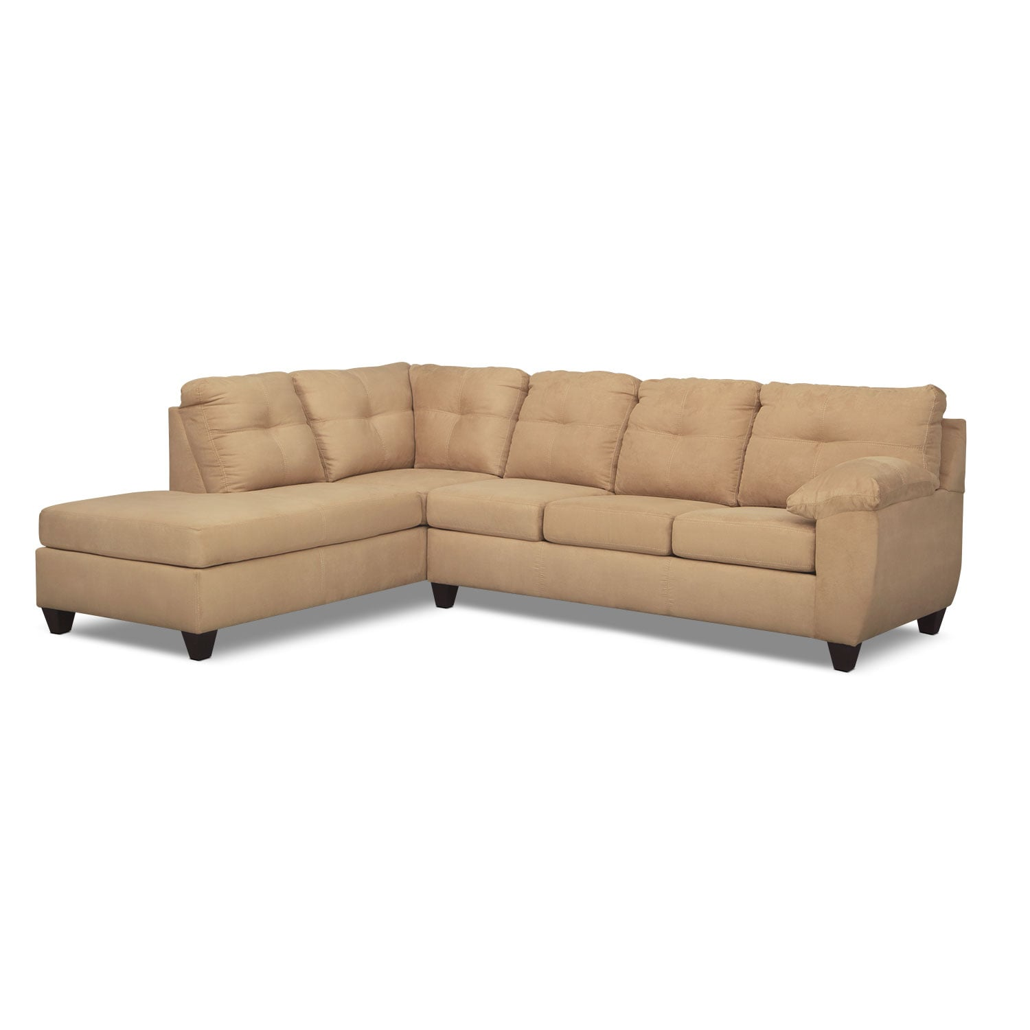 Living Room Furniture - Rialto 2-Piece Memory Foam Sleeper Sectional with Left-Facing Chaise - Brown