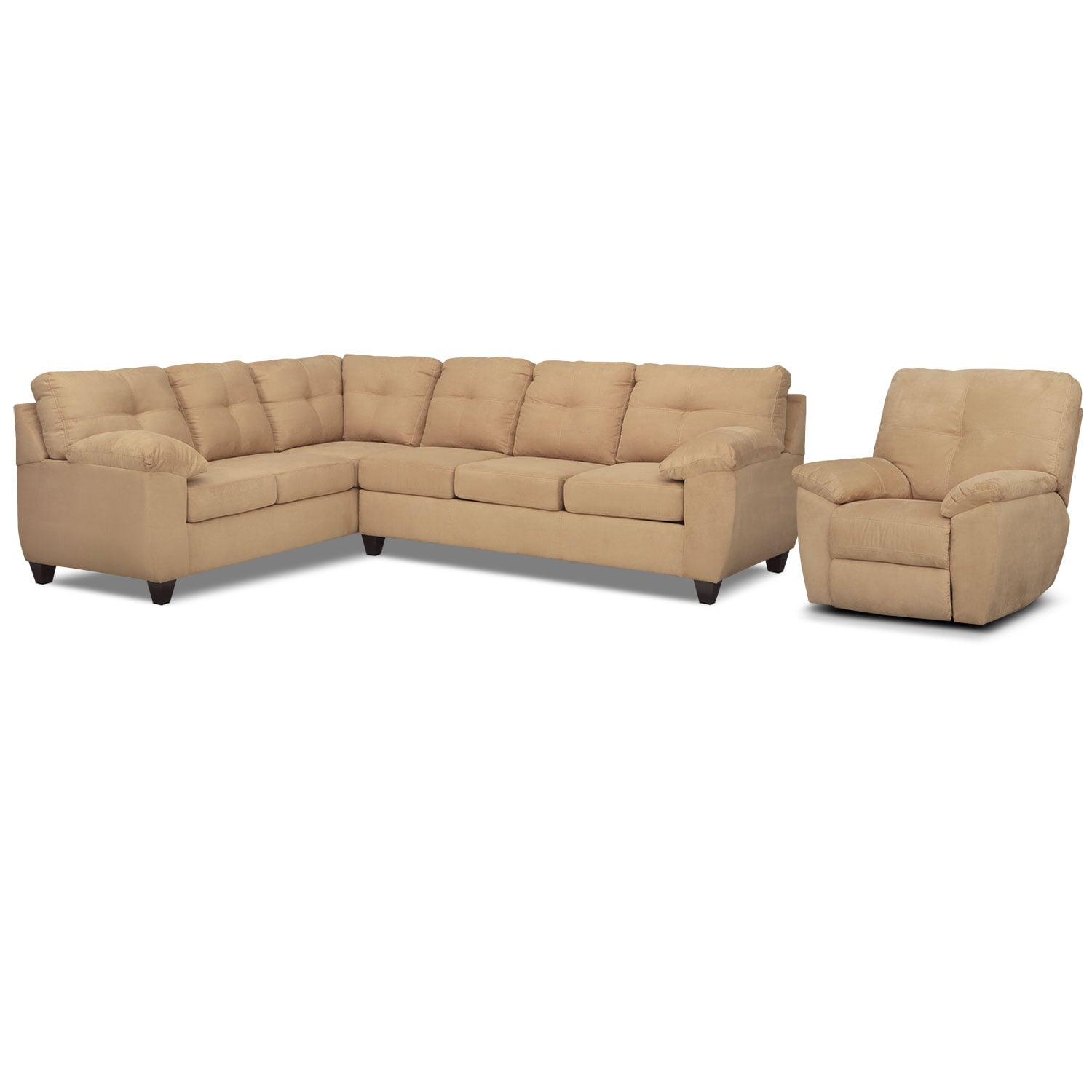 Living Room Furniture - Rialto Camel 2 Pc. Left-Facing Sofa Sectional and Glider Recliner