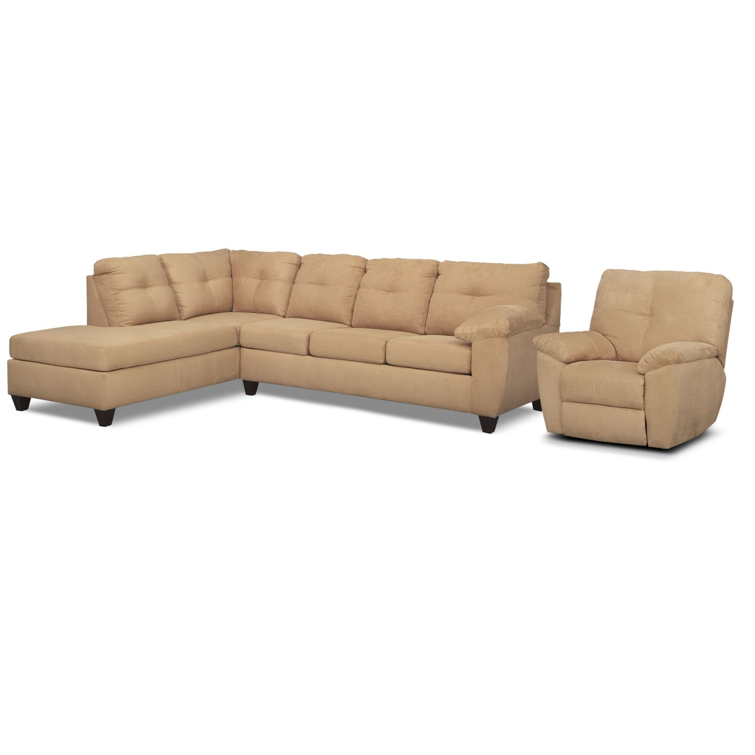 Living Room Furniture - Rialto 2-Piece Sectional with  Left-Facing Chaise and Glider Recliner Set - Camel