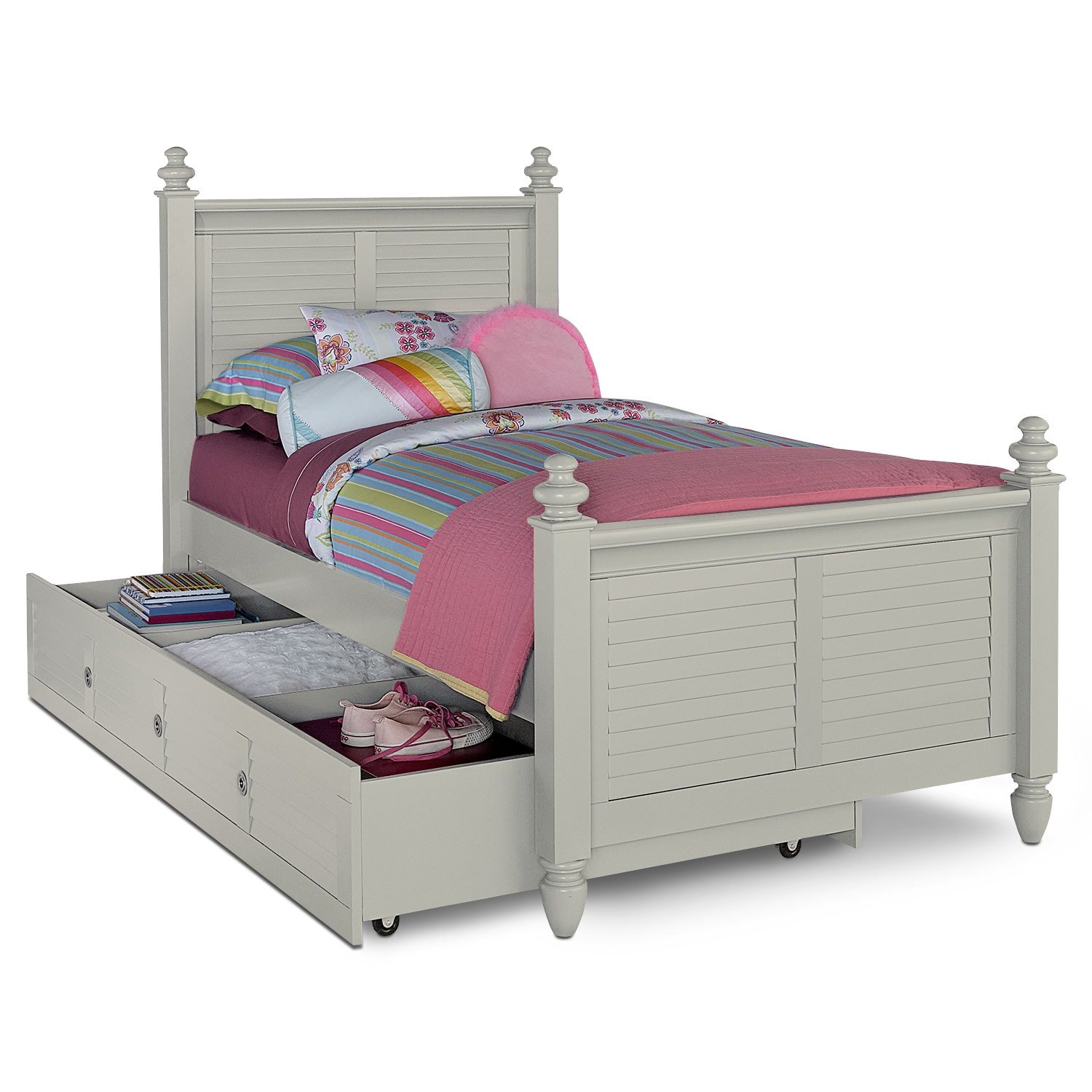 seaside twin bed with twin trundle gray american signature furniture. Black Bedroom Furniture Sets. Home Design Ideas