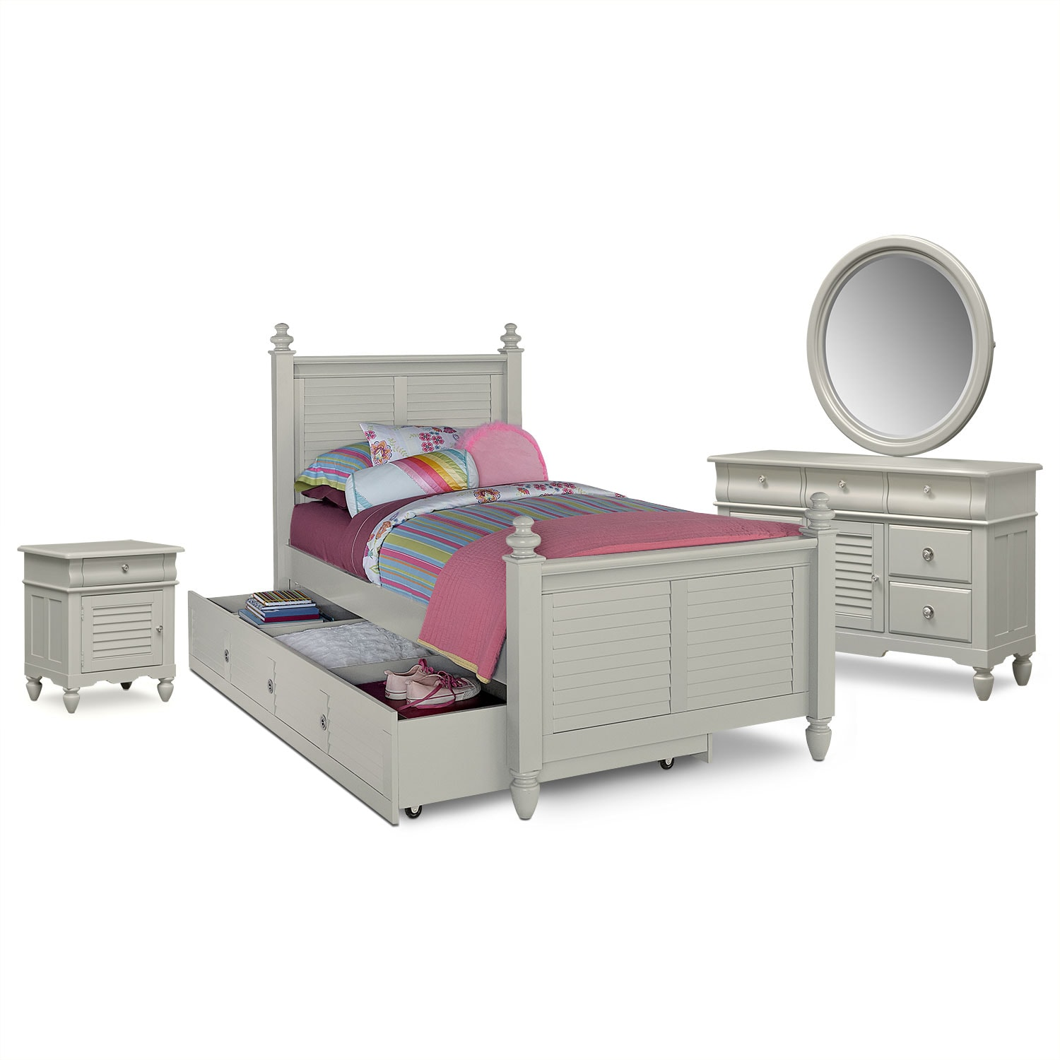 seaside 7piece twin bedroom set with trundle gray