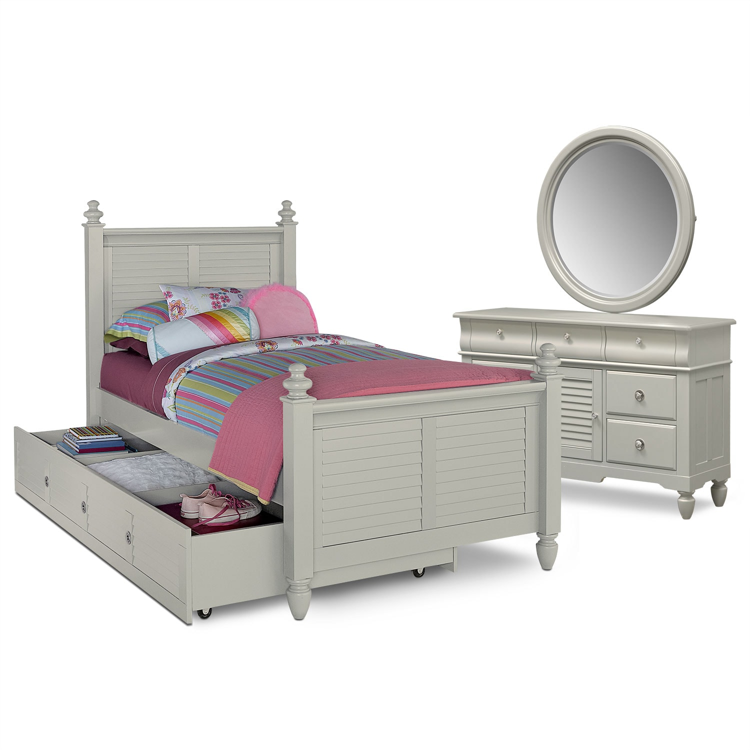 Kids Furniture - Seaside Gray 6 Pc. Full Bedroom with Trundle