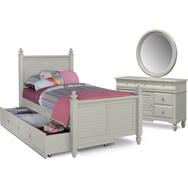 Kids Furniture - Seaside 6-Piece Full Bedroom Set with Trundle - Gray