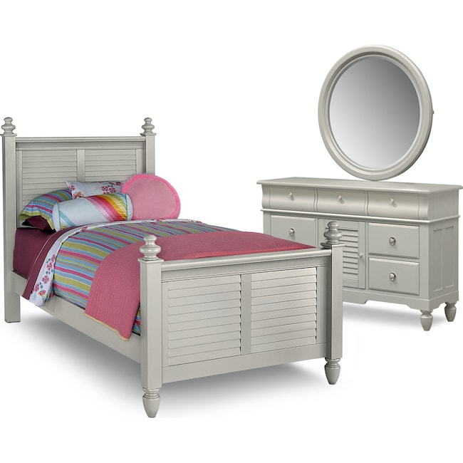 Kids Furniture - Seaside 5-Piece Full Bedroom Set - Gray