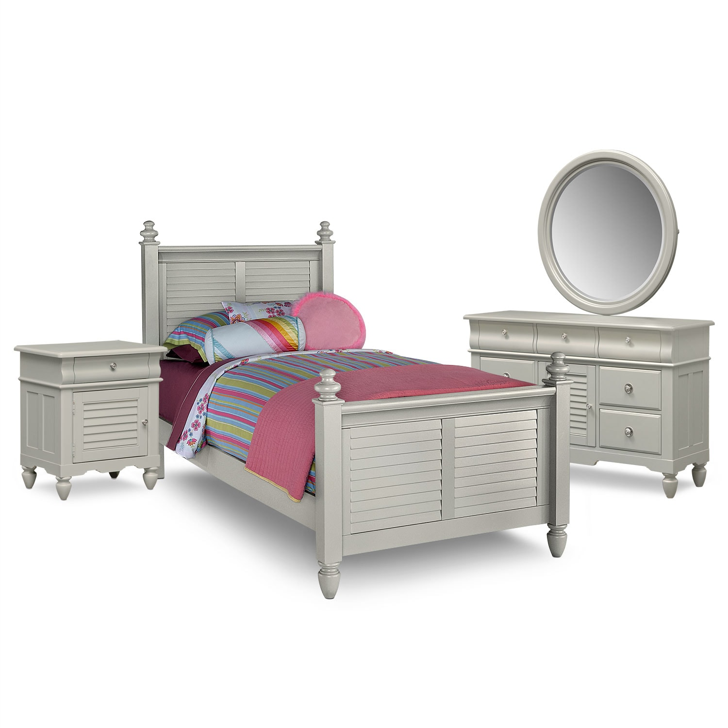 Seaside 6-Piece Twin Bedroom Set - Gray