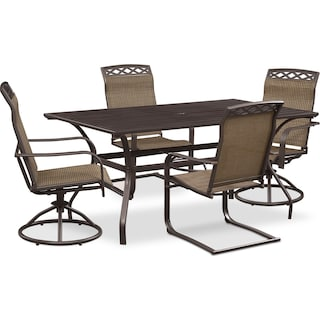 Terrace Table, 2 Spring Chairs and 2 Swivel Rockers - Brown