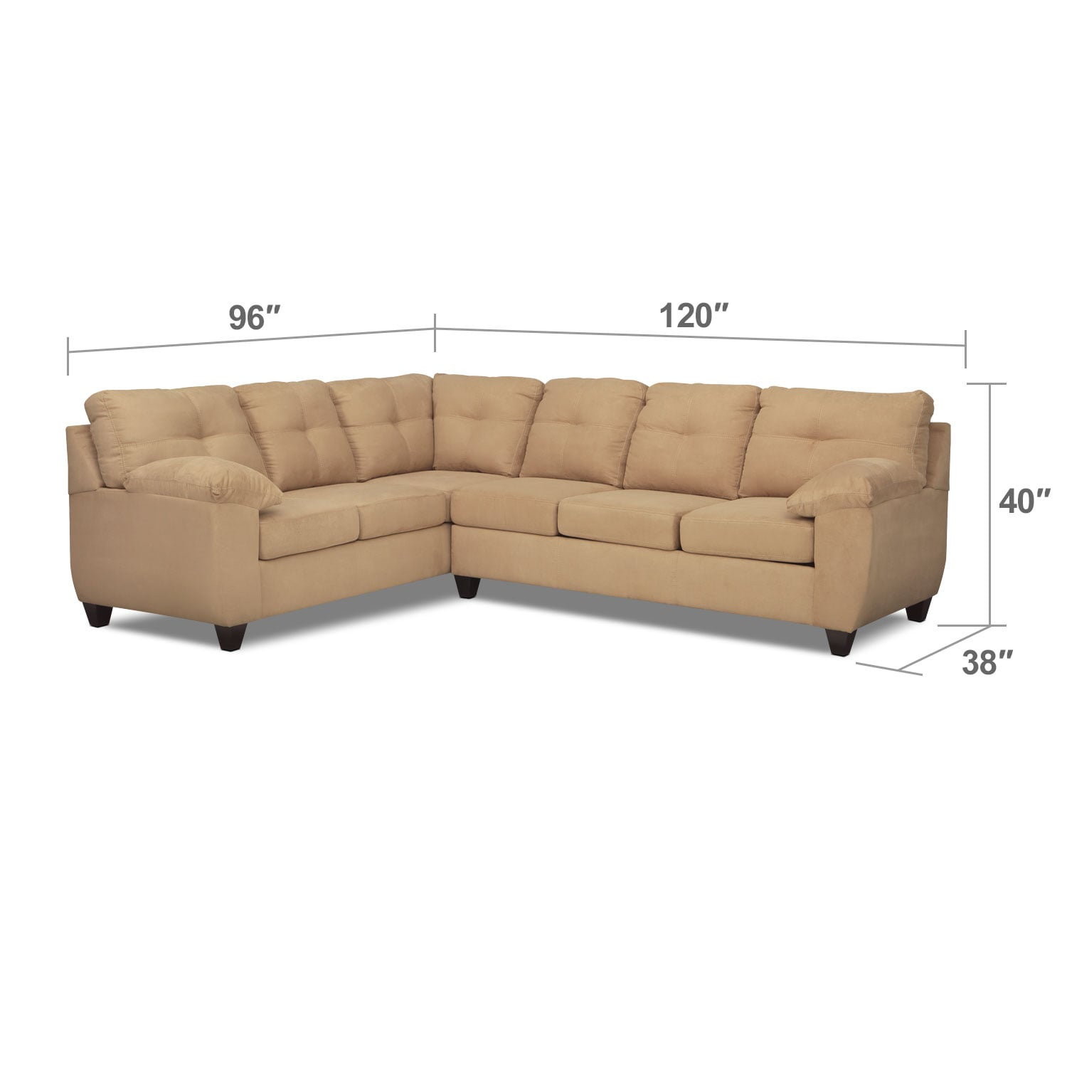 Living Room Furniture - Rialto 2-Piece Sectional with Right-Facing Innerspring Sleeper - Camel