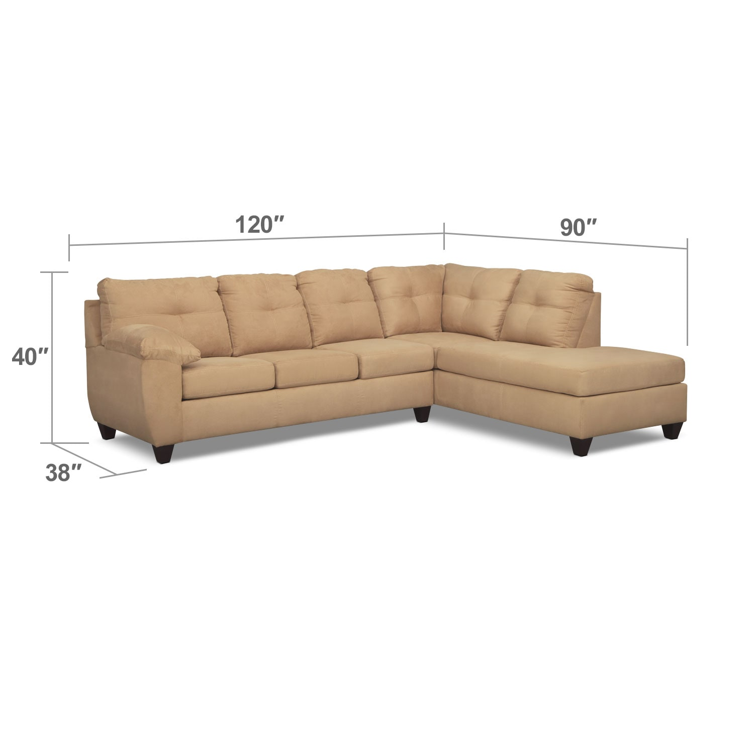 Living Room Furniture - Rialto Camel 2 Pc. Innerspring Sleeper Sectional with Right-Facing Chaise