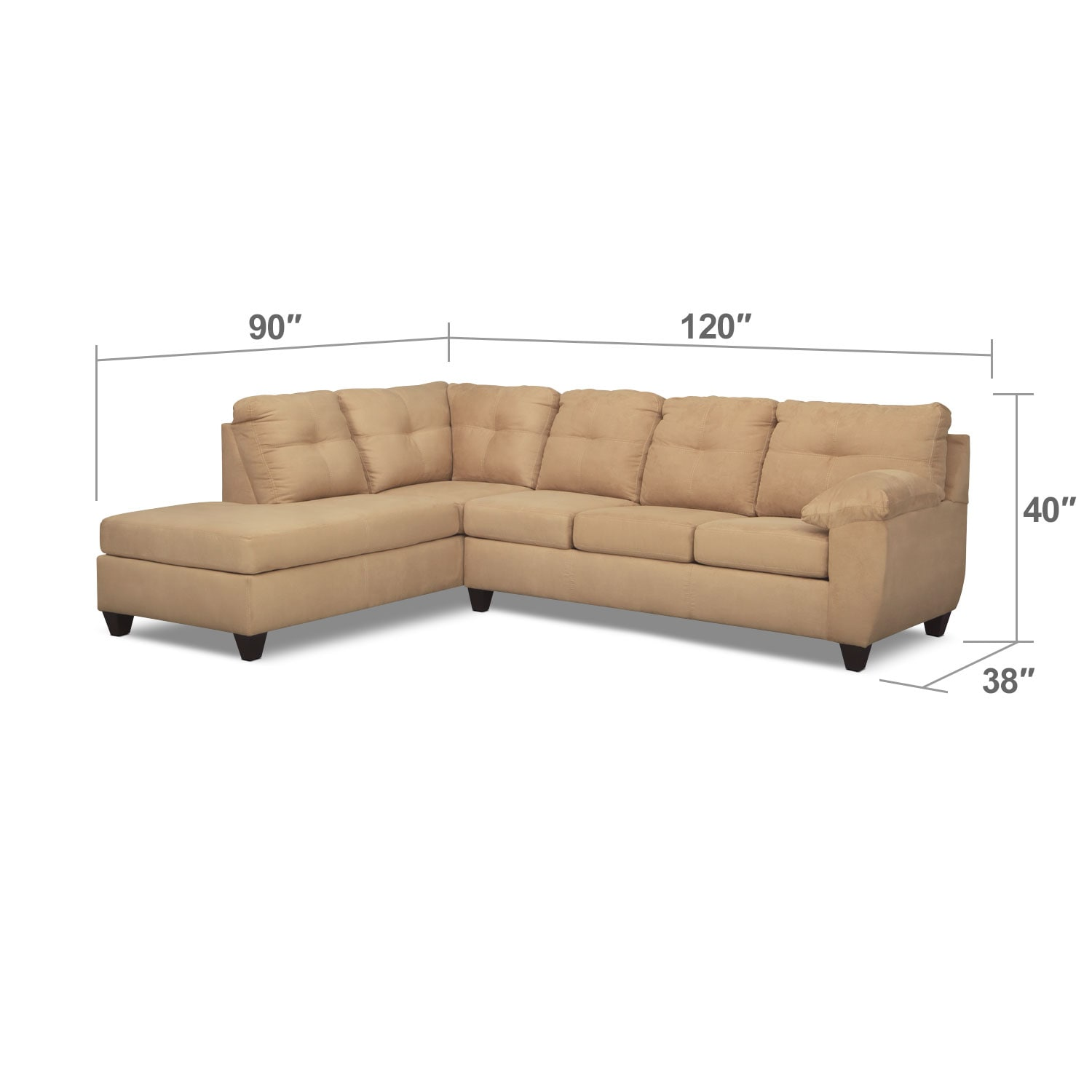 Living Room Furniture - Rialto Camel 2 Pc. Memory Foam Sleeper Sectional with Left-Facing Chaise