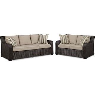 Doral Outdoor Sofa and Loveseat Set - Tan