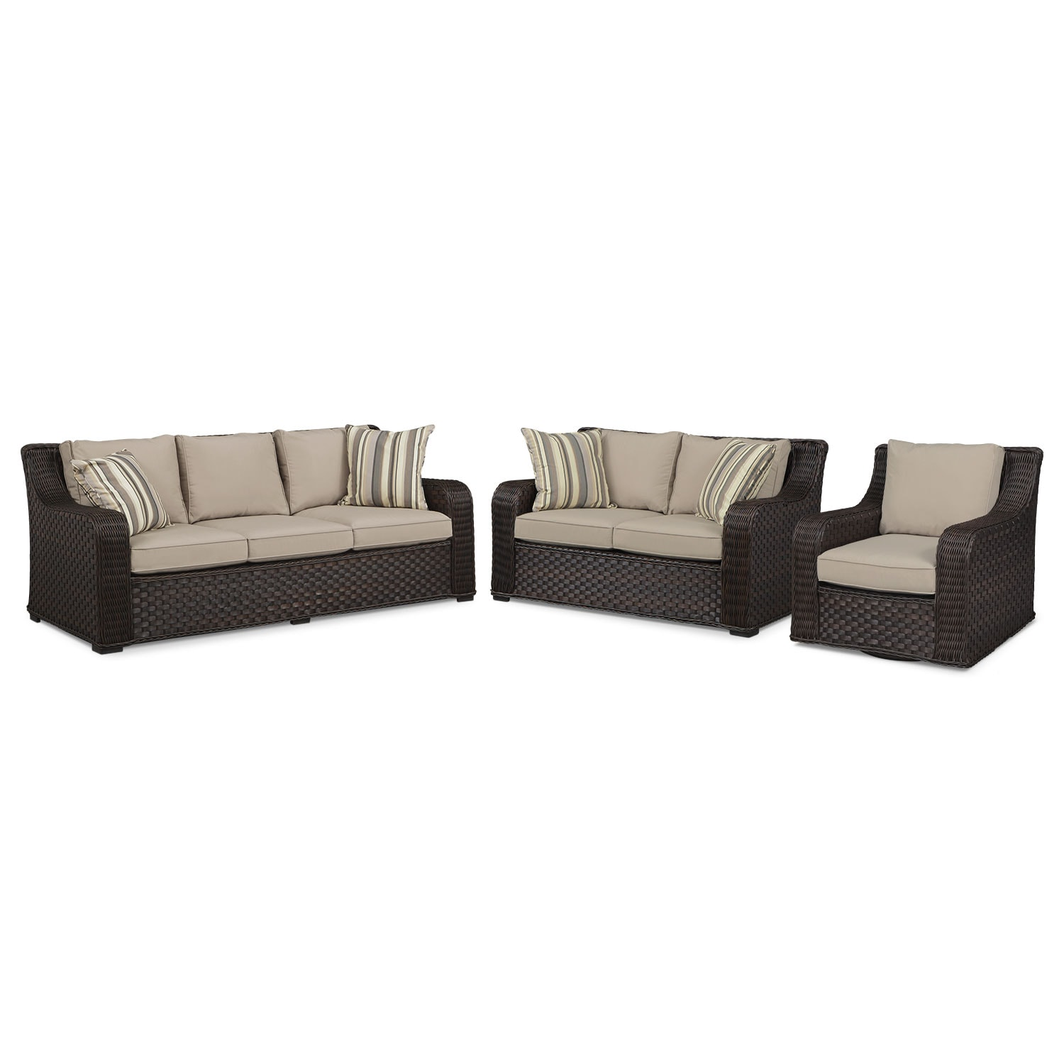 Doral Outdoor Sofa, Loveseat and Swivel Rocker Set - Tan
