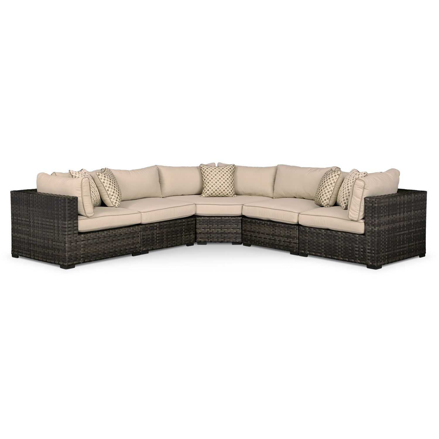 Regatta 5-Piece Outdoor Sectional with Wedge - Brown