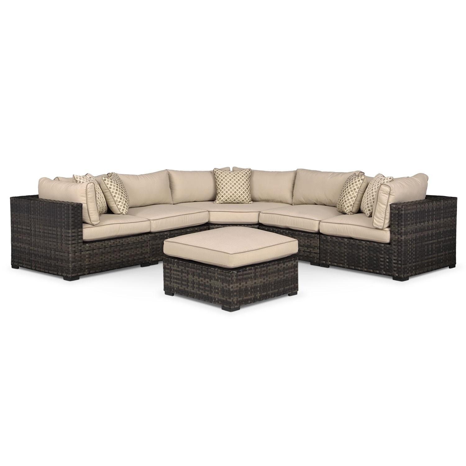 Regatta 5-Piece Outdoor Sectional with Wedge and Ottoman - Brown