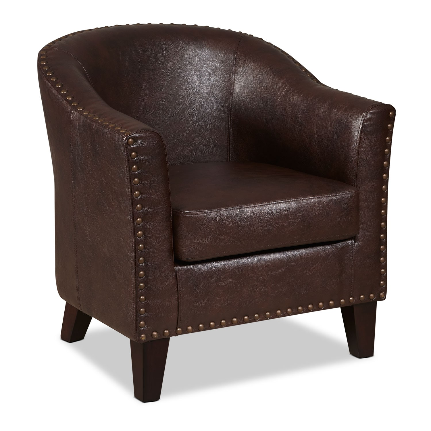 Living Room Furniture - Brogan Accent Chair - Brown