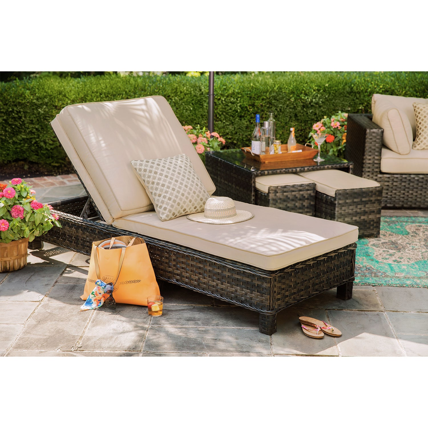 Outdoor Furniture - Regatta Outdoor Chaise Lounge - Brown